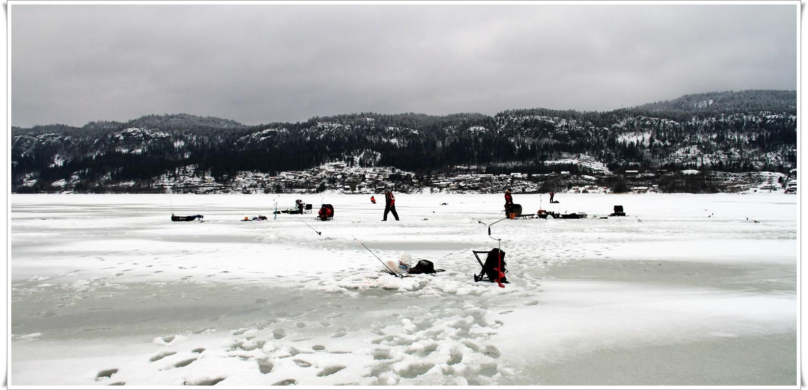 Det var folksomt på isen, både profilerte artsfiskere og lokale hobbyfiskere var der i hopetall