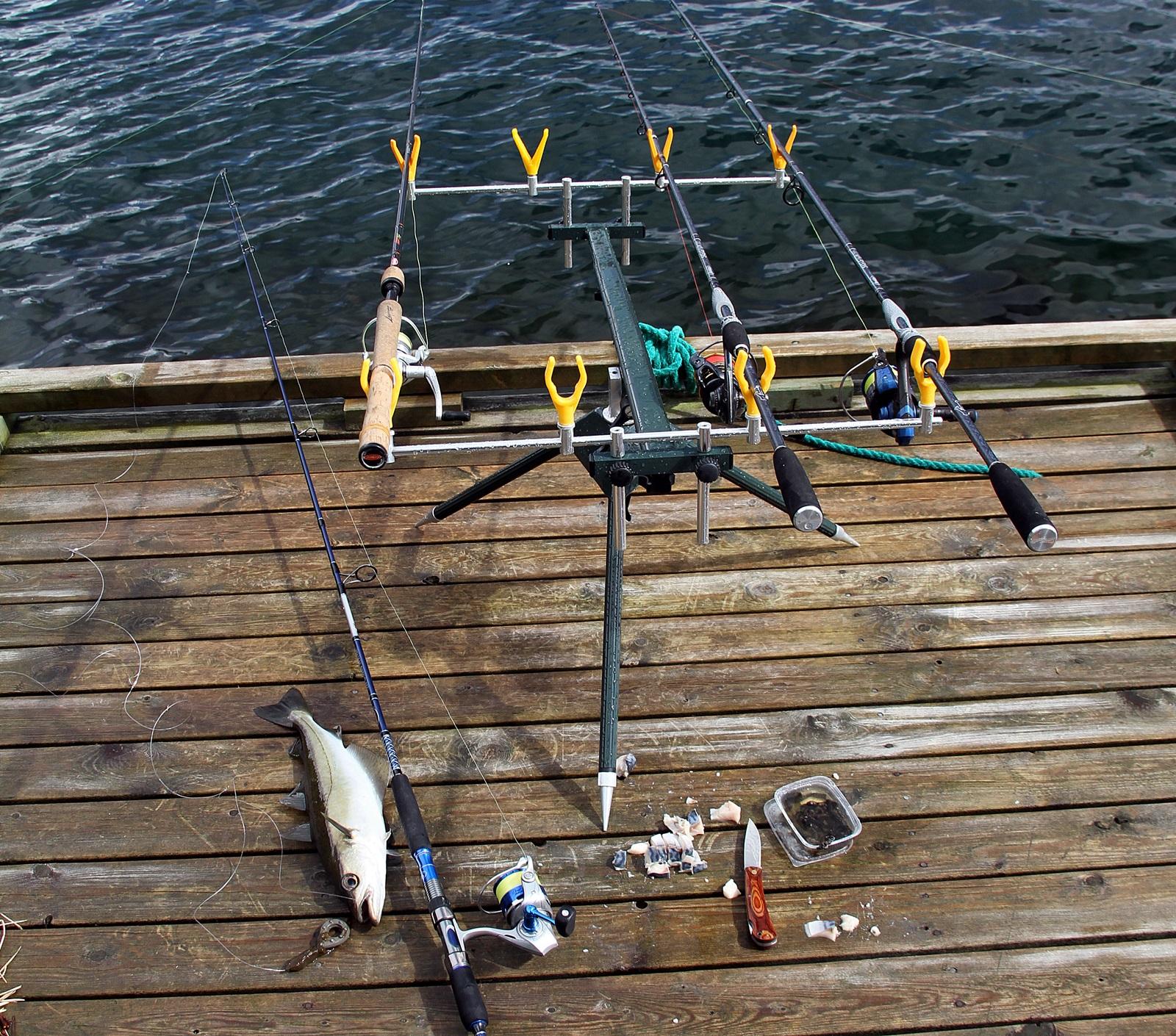 Du kan fiske enkelt med en stang, eller flere på stativ som her