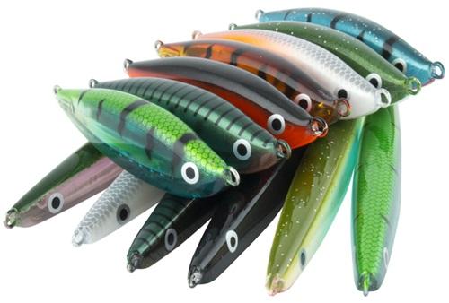 De nye effektive kystwobblerne/stick-bait finnes i en rekker farger