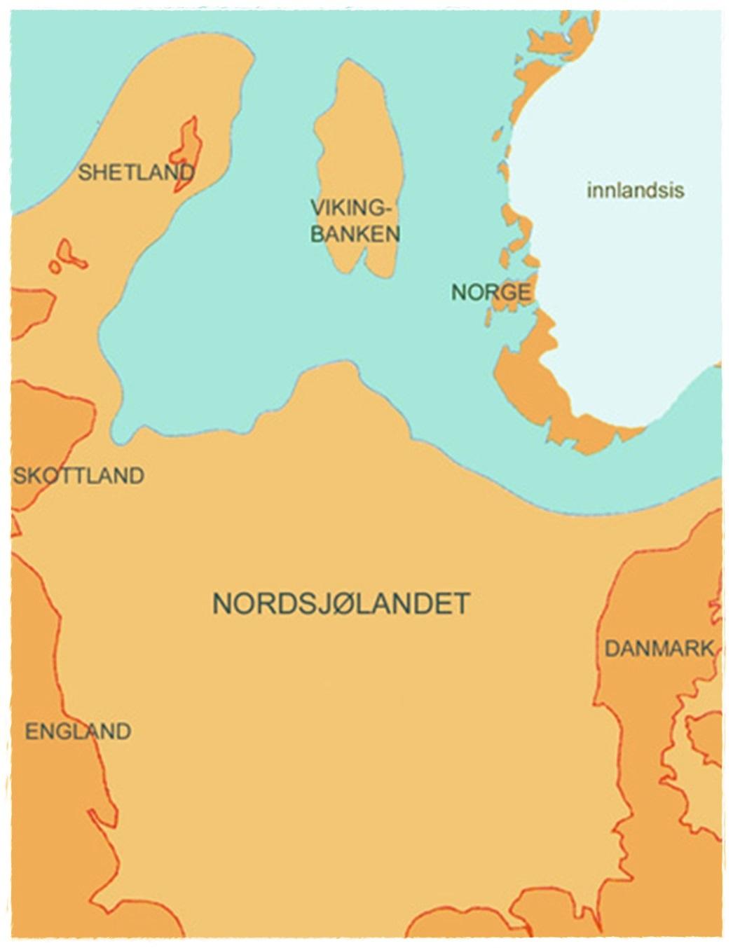 Nordsjølandet ligger i dag under havet, legg merke til iskanten som nå ligger rett over Sørlandet
