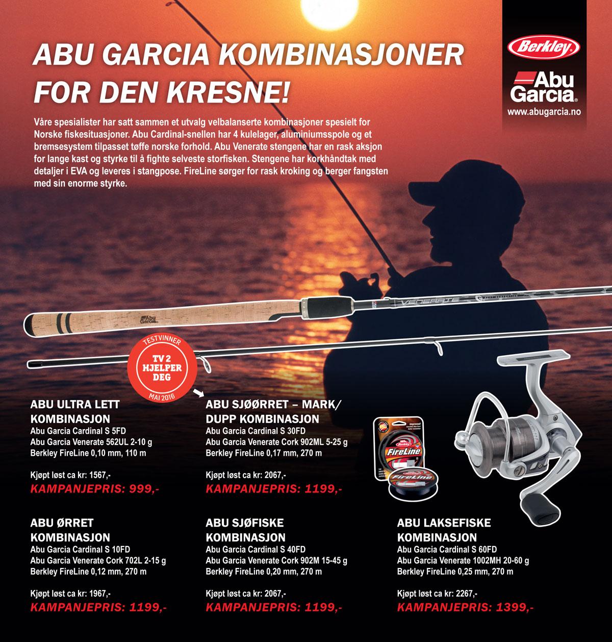 """Abu Garcia kombinasjon for sjøørret og allroundfiske. """"best i test"""" TV2 Hjelper deg. Juletilbud: 1199,-"""
