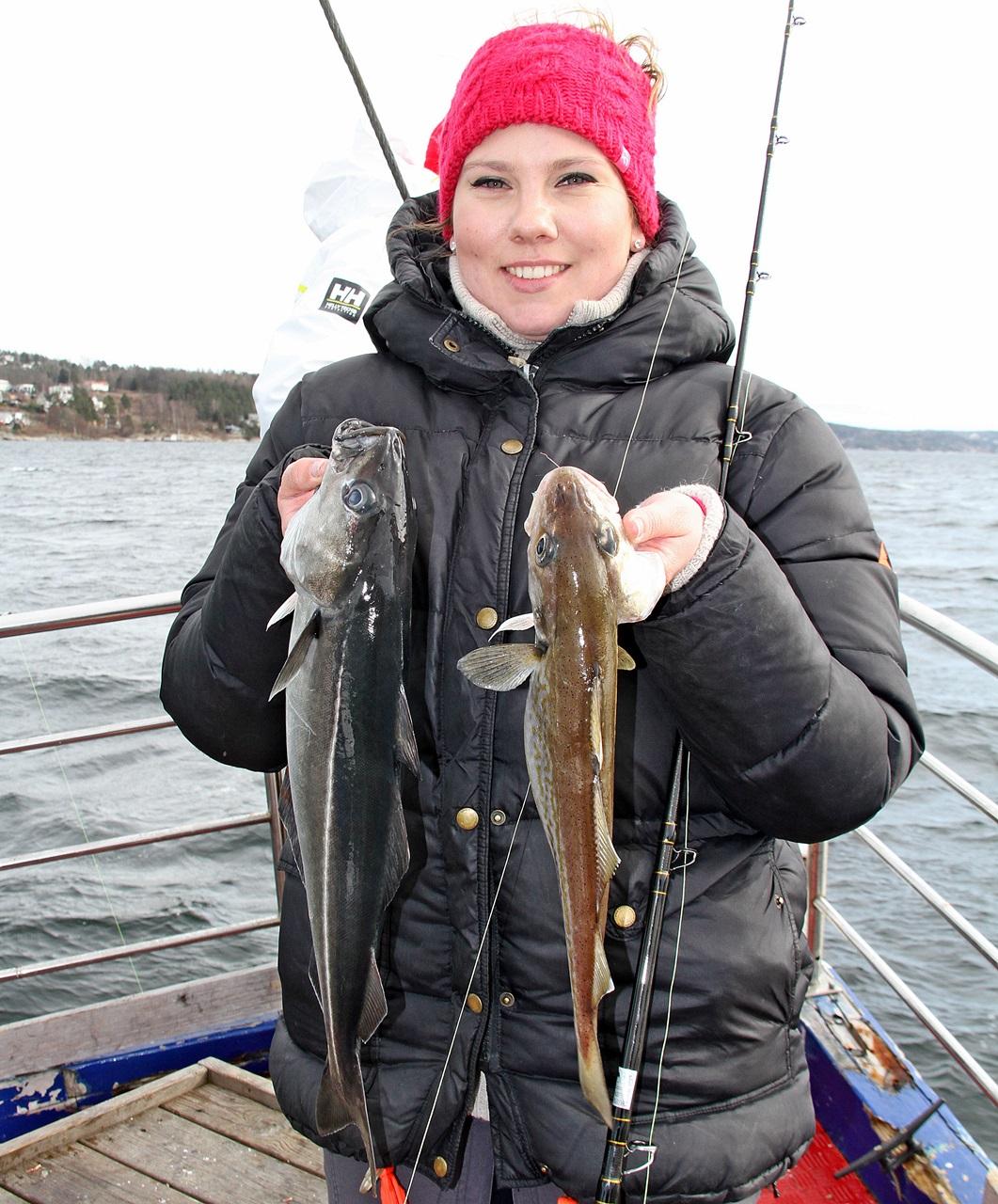 Sei og hvitting og en fornøyd fisker