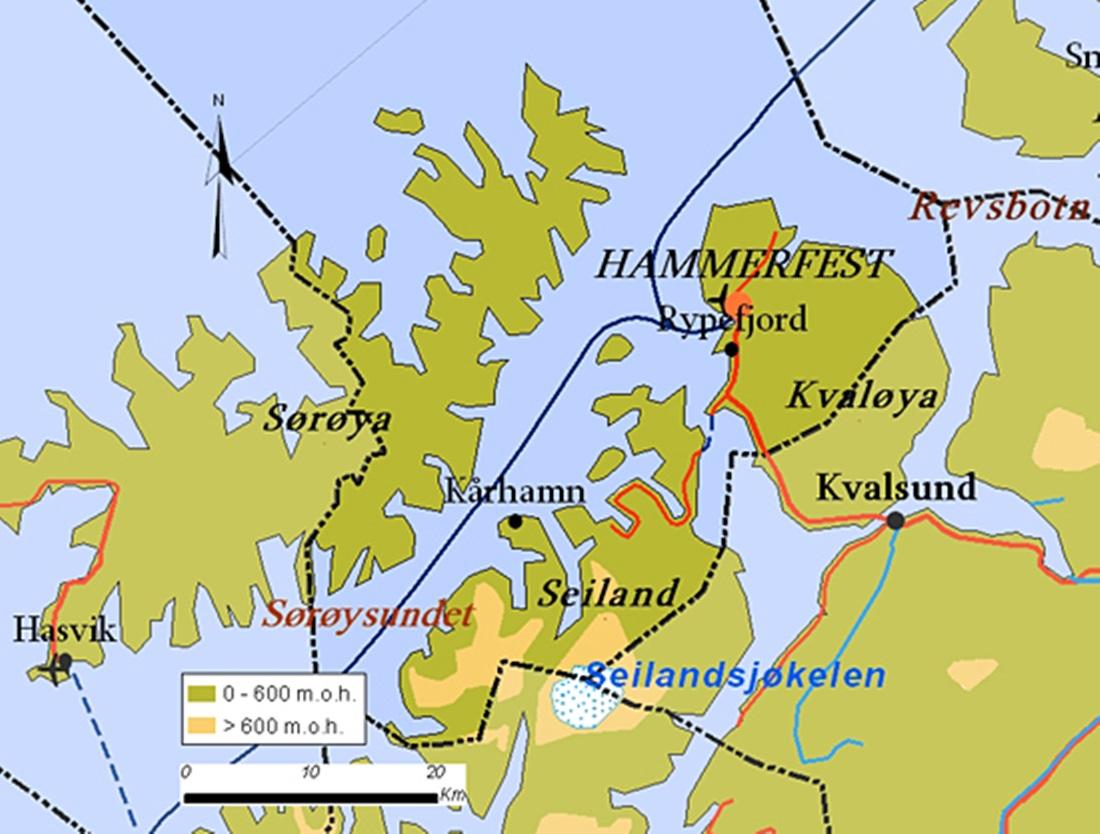Sørøya ligger helt vest på finnmarkkysten