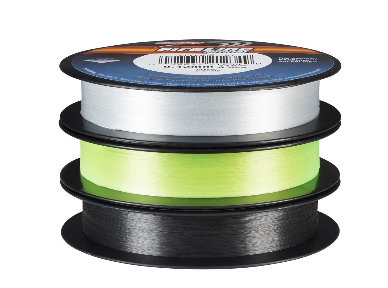 Berkley Fire Line finnes i flere farger, de mest populære er crystal, flame green og smoke
