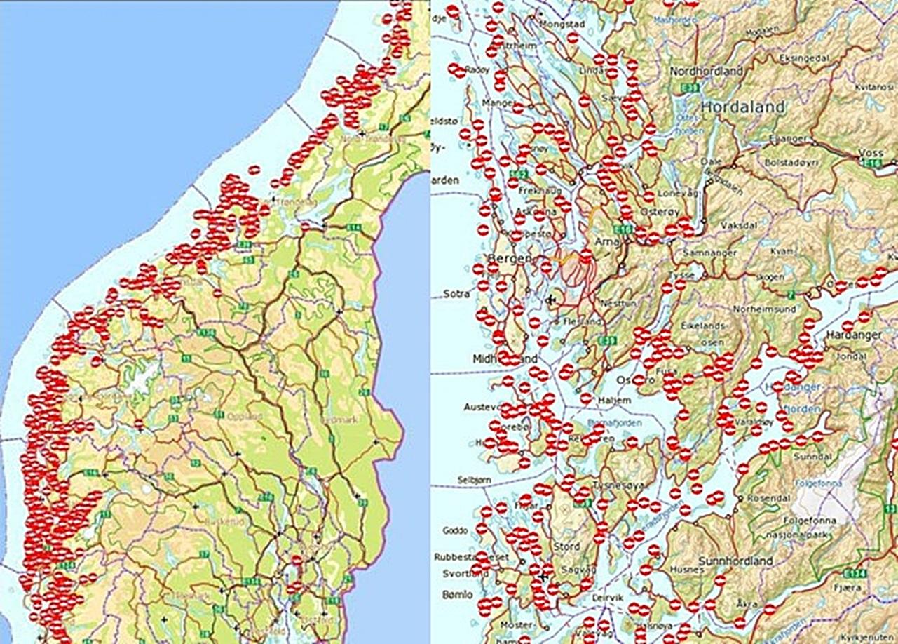 tusenvis av annlegg dekker nå hele kystlinjen, spesielt er vestlandet tett besatt