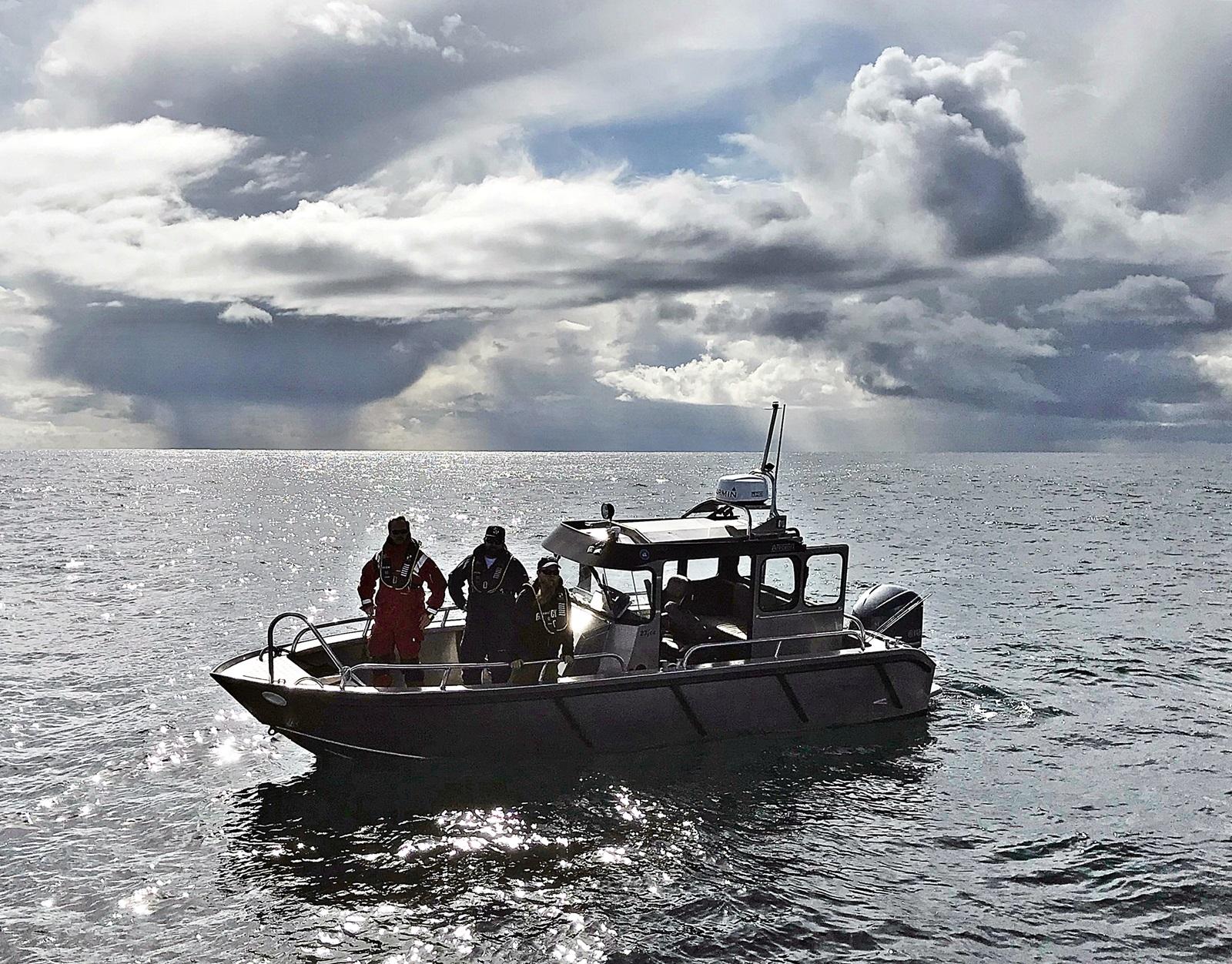 Merke båten med forskerne var aldri langt unna på feltet