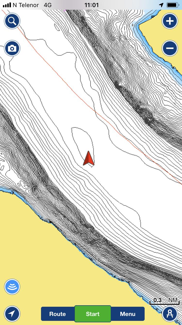 med appen navionics får du ganske god oversikt over dybdeforholden også i Mjøsa